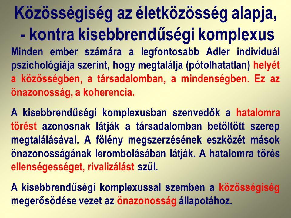 Közösségiség az életközösség alapja, - kontra kisebbrendűségi komplexus Minden ember számára a legfontosabb Adler individuál pszichológiája szerint, h