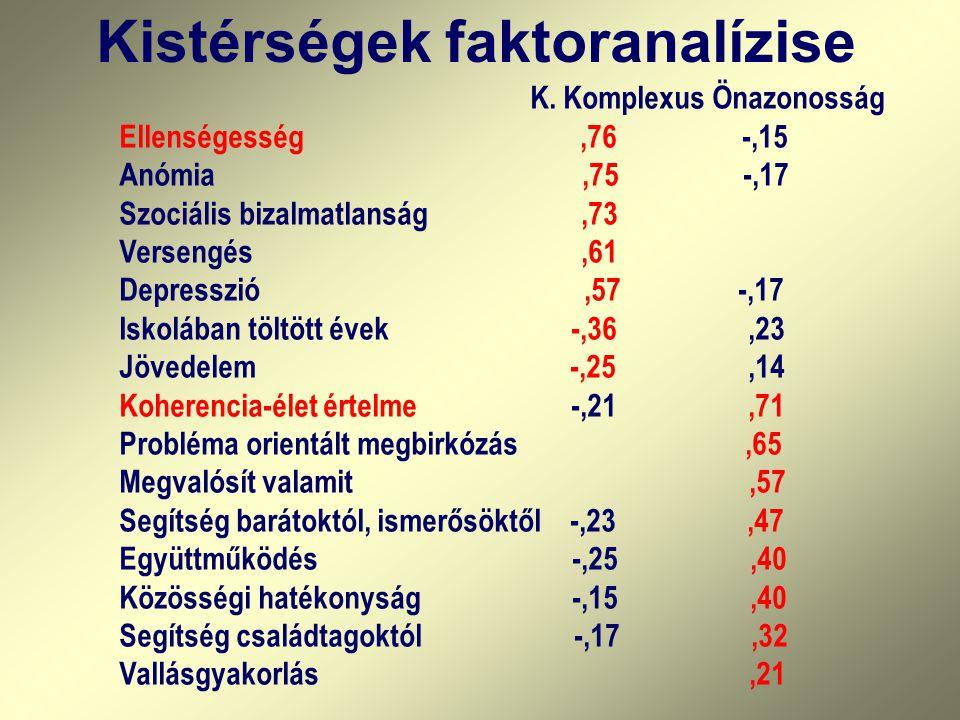 Kistérségek faktoranalízise K. Komplexus Önazonosság Ellenségesség,76 -,15 Anómia,75 -,17 Szociális bizalmatlanság,73 Versengés,61 Depresszió,57 -,17