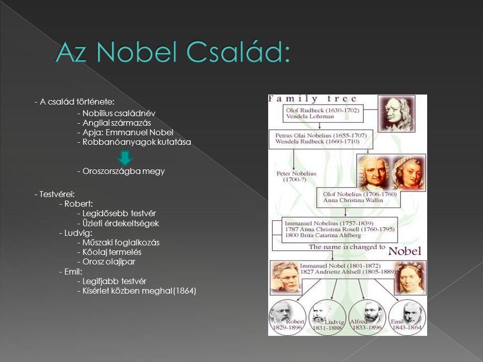 - A család története: - Nobilius családnév - Angliai származás - Apja: Emmanuel Nobel - Robbanóanyagok kutatása - Oroszországba megy - Testvérei: - Ro