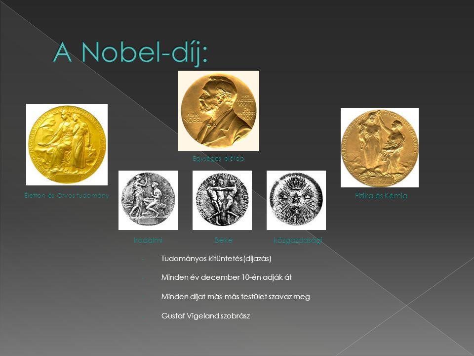 - Tudományos kitüntetés(díjazás) - Minden év december 10-én adják át - Minden díjat más-más testület szavaz meg - Gustaf Vigeland szobrász Élettan és