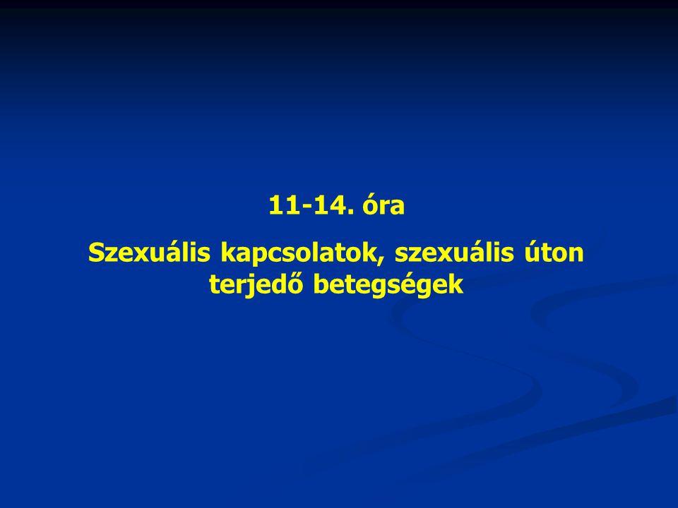 11-14. óra Szexuális kapcsolatok, szexuális úton terjedő betegségek