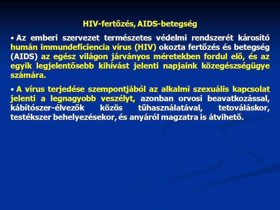HIV-fertőzés, AIDS-betegség • Az emberi szervezet természetes védelmi rendszerét károsító humán immundeficiencia vírus (HIV) okozta fertőzés és betegs