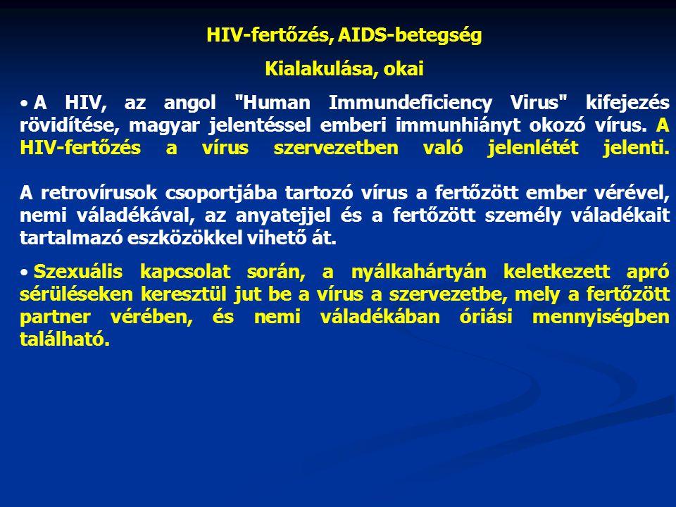 HIV-fertőzés, AIDS-betegség Kialakulása, okai • A HIV, az angol