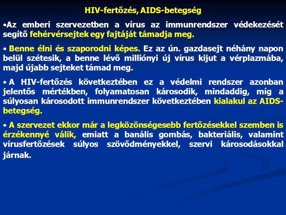 HIV-fertőzés, AIDS-betegség •Az emberi szervezetben a vírus az immunrendszer védekezését segítő fehérvérsejtek egy fajtáját támadja meg. • Benne élni
