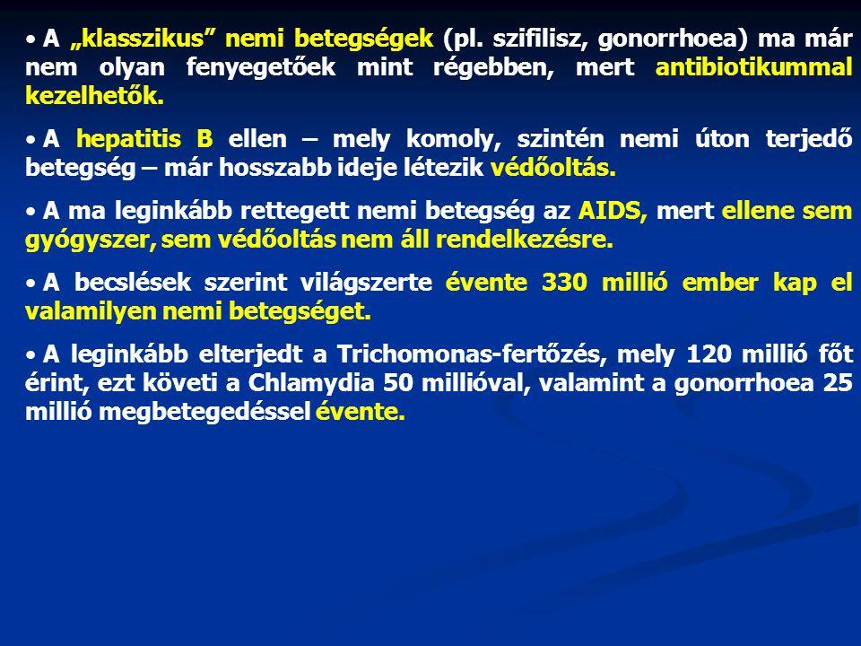 """• A """"klasszikus"""" nemi betegségek (pl. szifilisz, gonorrhoea) ma már nem olyan fenyegetőek mint régebben, mert antibiotikummal kezelhetők. • A hepatiti"""