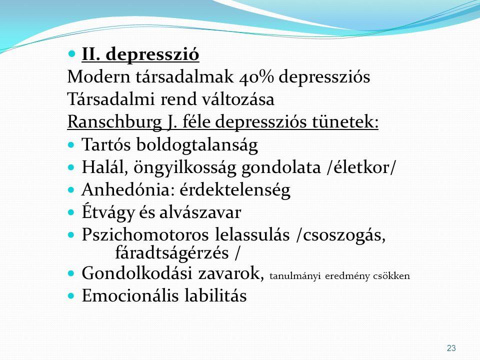  II.depresszió Modern társadalmak 40% depressziós Társadalmi rend változása Ranschburg J.