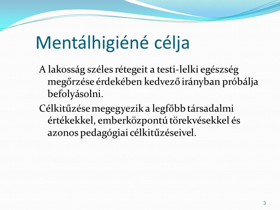 Mentálhigiéné célja A lakosság széles rétegeit a testi-lelki egészség megőrzése érdekében kedvező irányban próbálja befolyásolni.