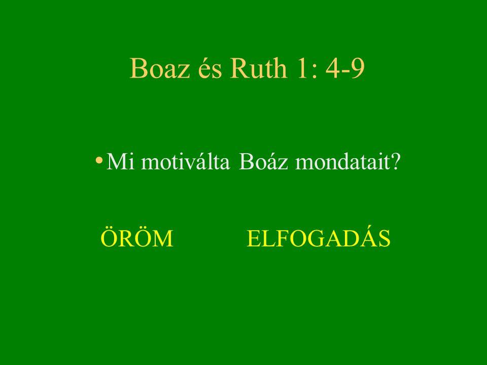 Boaz és Ruth 1: 4-9 • Mi motiválta Boáz mondatait? ÖRÖM ELFOGADÁS