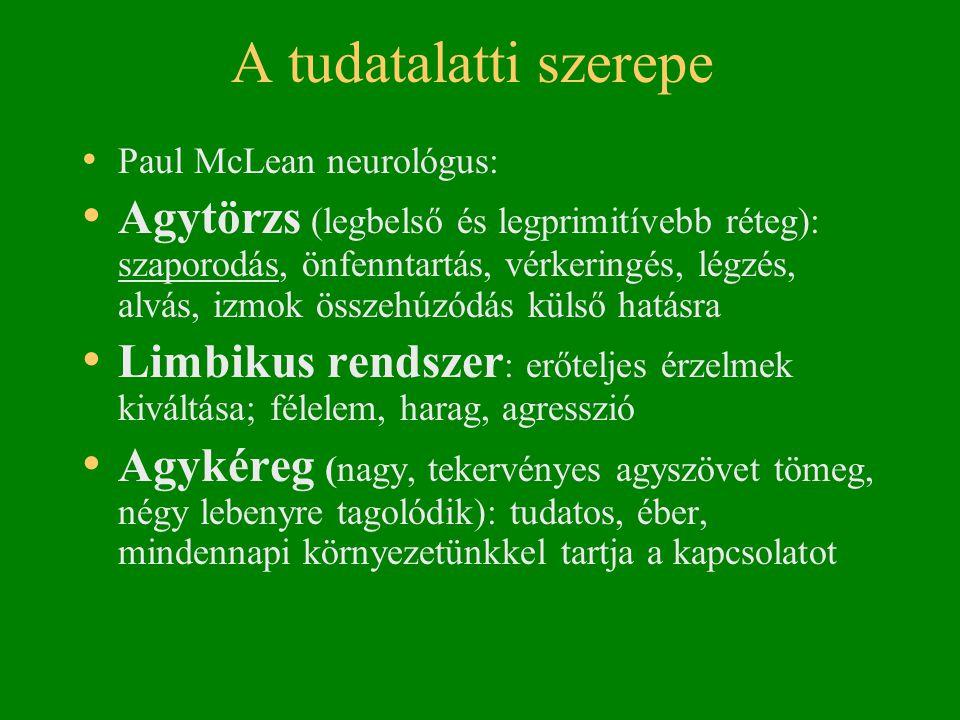 A tudatalatti szerepe • Paul McLean neurológus: • Agytörzs (legbelső és legprimitívebb réteg): szaporodás, önfenntartás, vérkeringés, légzés, alvás, izmok összehúzódás külső hatásra • Limbikus rendszer : erőteljes érzelmek kiváltása; félelem, harag, agresszió • Agykéreg (nagy, tekervényes agyszövet tömeg, négy lebenyre tagolódik): tudatos, éber, mindennapi környezetünkkel tartja a kapcsolatot