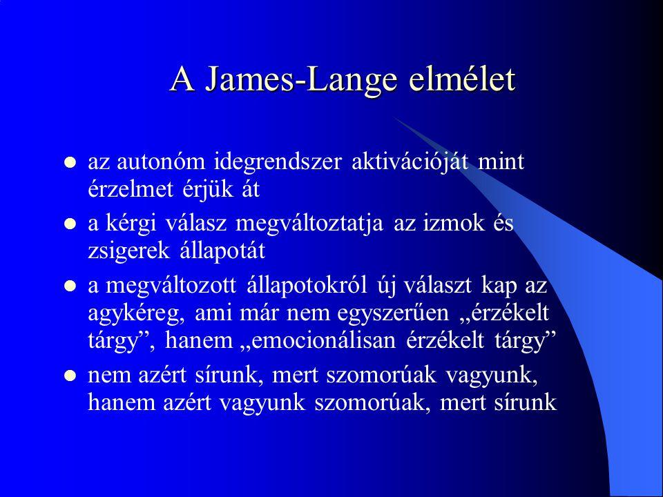 """A James-Lange elmélet  az autonóm idegrendszer aktivációját mint érzelmet érjük át  a kérgi válasz megváltoztatja az izmok és zsigerek állapotát  a megváltozott állapotokról új választ kap az agykéreg, ami már nem egyszerűen """"érzékelt tárgy , hanem """"emocionálisan érzékelt tárgy  nem azért sírunk, mert szomorúak vagyunk, hanem azért vagyunk szomorúak, mert sírunk"""