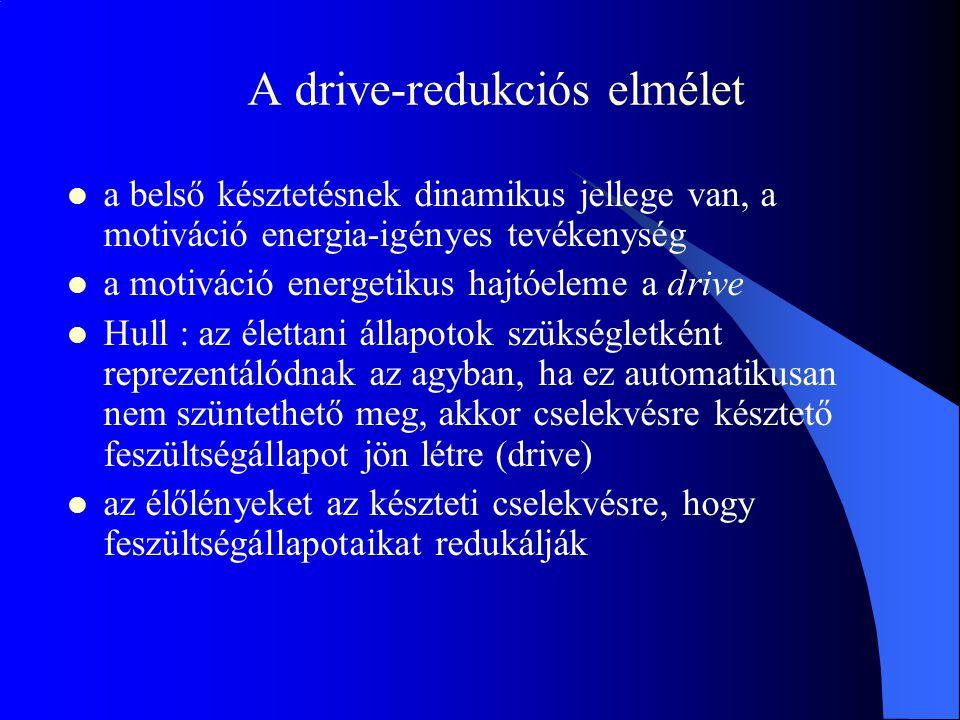 A drive-redukciós elmélet  a belső késztetésnek dinamikus jellege van, a motiváció energia-igényes tevékenység  a motiváció energetikus hajtóeleme a drive  Hull : az élettani állapotok szükségletként reprezentálódnak az agyban, ha ez automatikusan nem szüntethető meg, akkor cselekvésre késztető feszültségállapot jön létre (drive)  az élőlényeket az készteti cselekvésre, hogy feszültségállapotaikat redukálják