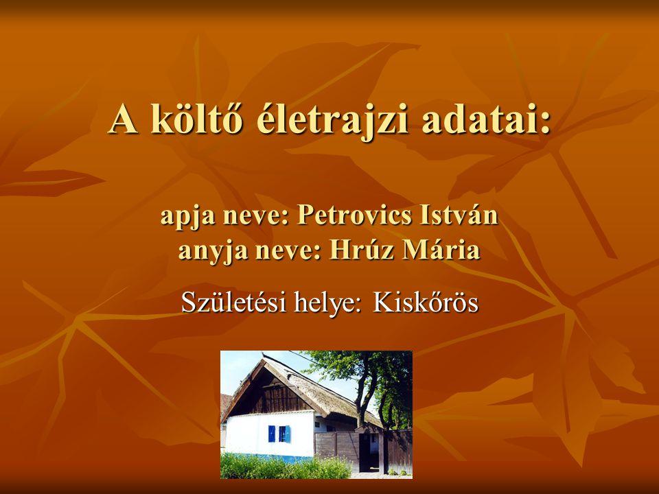 A költő életrajzi adatai: apja neve: Petrovics István anyja neve: Hrúz Mária Születési helye: Kiskőrös
