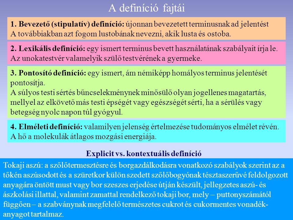 A definíció fajtái 1.