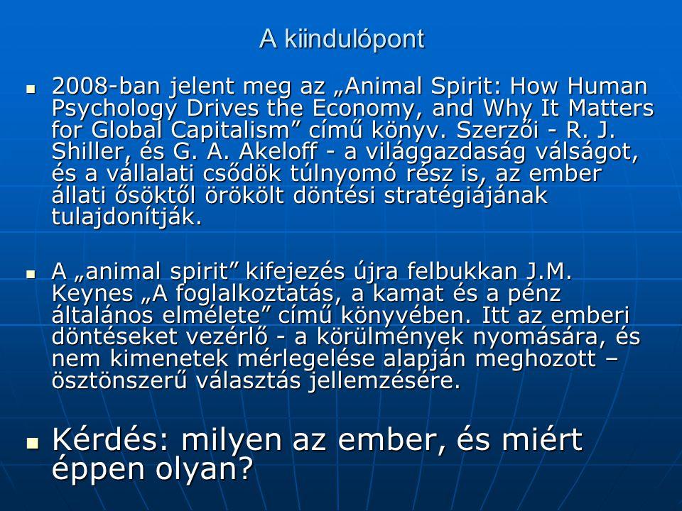 """A kiindulópont  2008-ban jelent meg az """"Animal Spirit: How Human Psychology Drives the Economy, and Why It Matters for Global Capitalism"""" című könyv."""