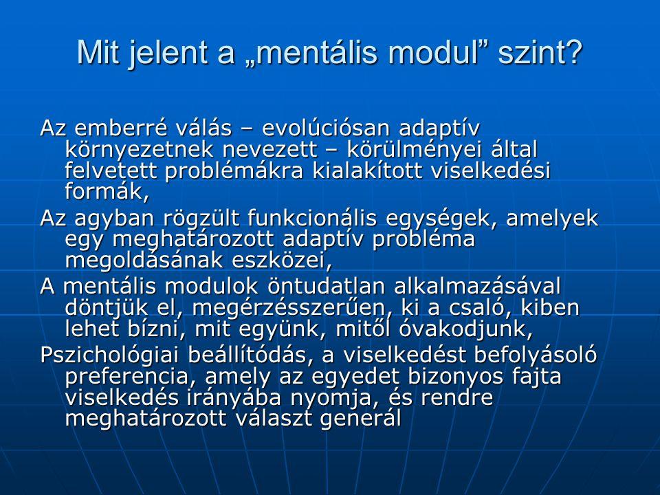 """Mit jelent a """"mentális modul szint."""