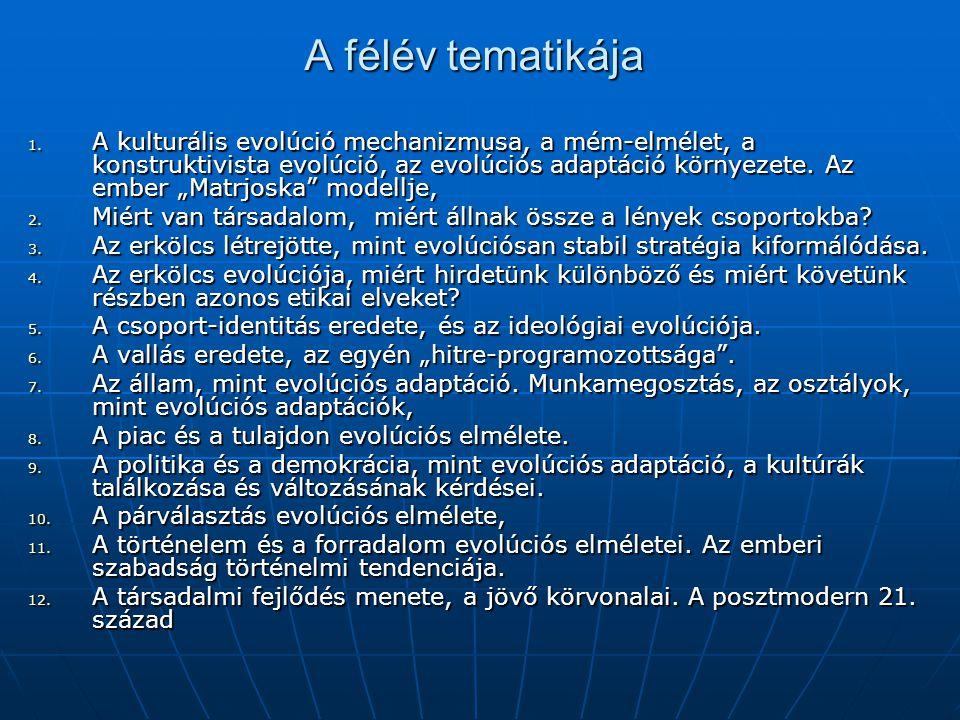 """A félév tematikája 1. A kulturális evolúció mechanizmusa, a mém-elmélet, a konstruktivista evolúció, az evolúciós adaptáció környezete. Az ember """"Matr"""
