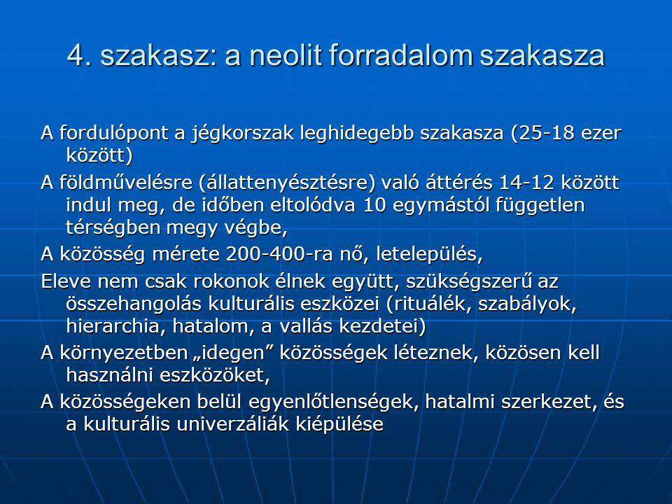 4. szakasz: a neolit forradalom szakasza A fordulópont a jégkorszak leghidegebb szakasza (25-18 ezer között) A földművelésre (állattenyésztésre) való