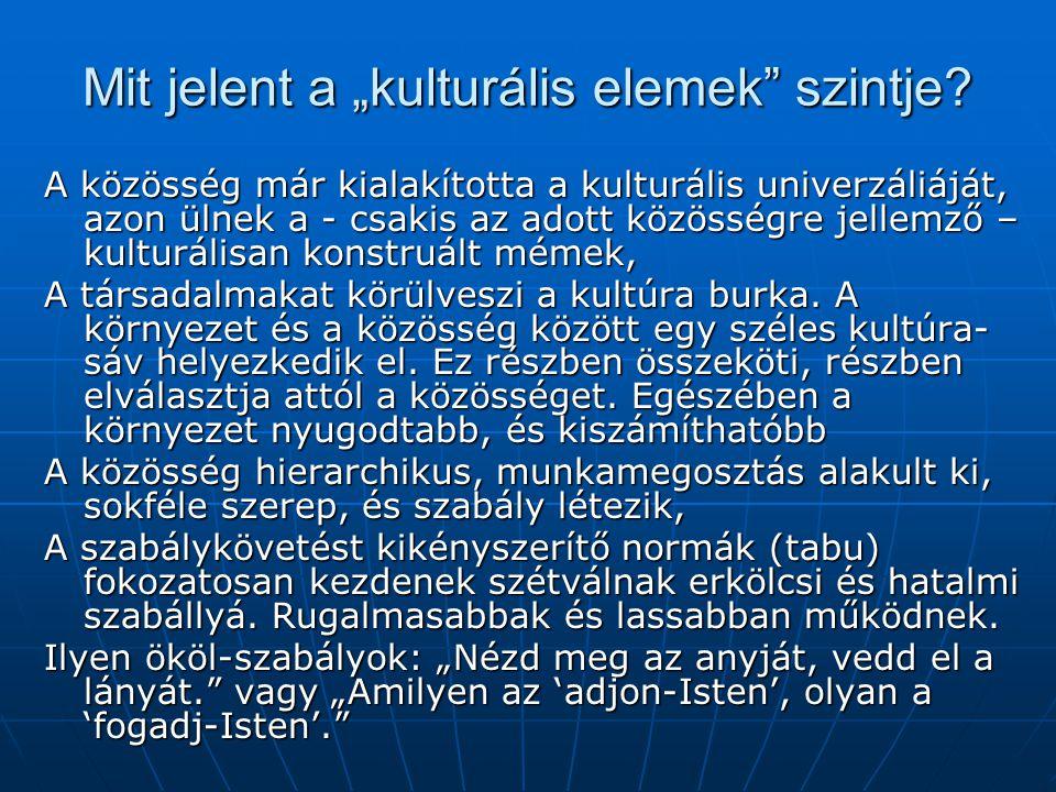"""Mit jelent a """"kulturális elemek"""" szintje? A közösség már kialakította a kulturális univerzáliáját, azon ülnek a - csakis az adott közösségre jellemző"""