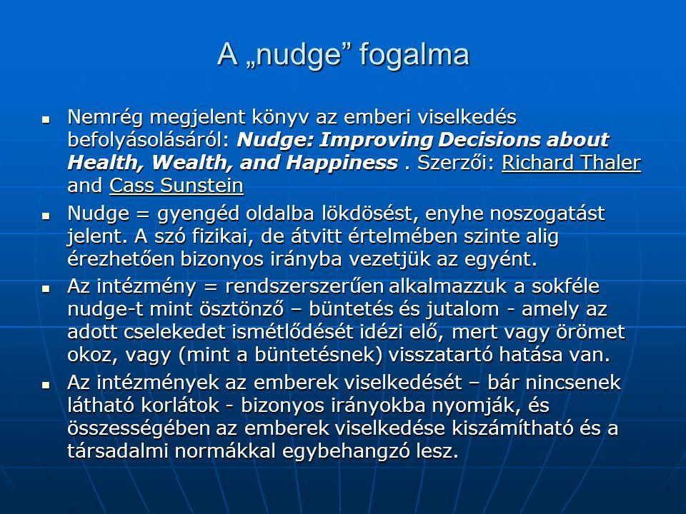 """A """"nudge fogalma  Nemrég megjelent könyv az emberi viselkedés befolyásolásáról: Nudge: Improving Decisions about Health, Wealth, and Happiness."""