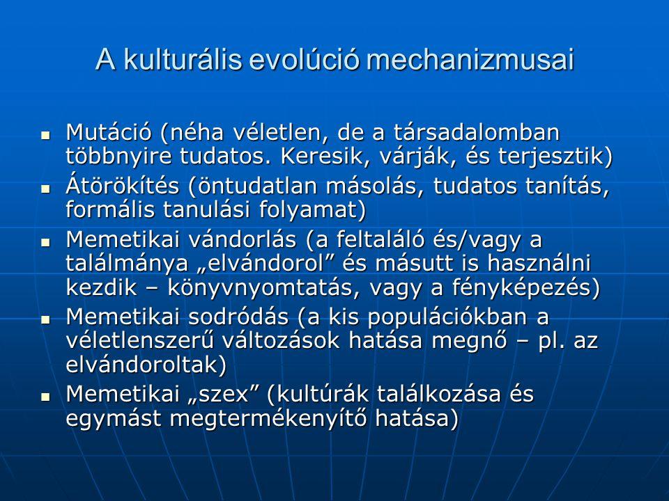 A kulturális evolúció mechanizmusai  Mutáció (néha véletlen, de a társadalomban többnyire tudatos. Keresik, várják, és terjesztik)  Átörökítés (öntu
