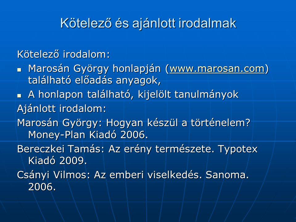 Kötelező és ajánlott irodalmak Kötelező irodalom:  Marosán György honlapján (www.marosan.com) található előadás anyagok, www.marosan.com  A honlapon