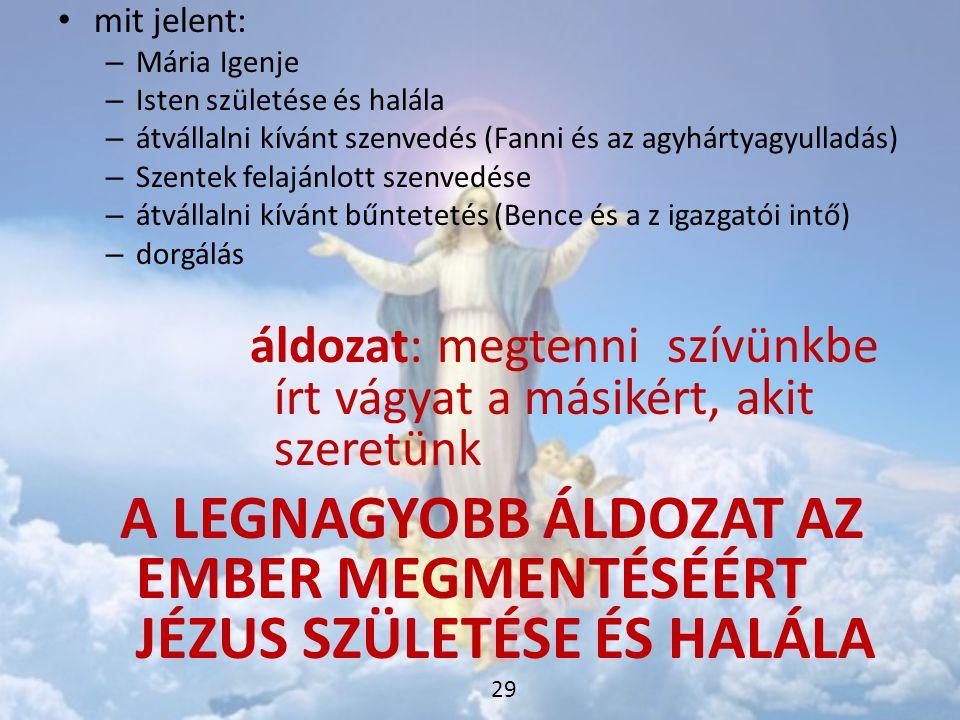 • mit jelent: – Mária Igenje – Isten születése és halála – átvállalni kívánt szenvedés (Fanni és az agyhártyagyulladás) – Szentek felajánlott szenvedé