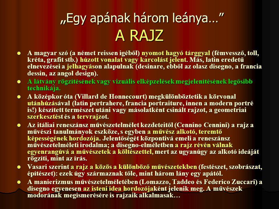 """"""" Egy apának három leánya… A RAJZ """" Egy apának három leánya… A RAJZ  A magyar szó (a német reissen igéből) nyomot hagyó tárggyal (fémvessző, toll, kréta, grafit stb.) húzott vonalat vagy karcolást jelent."""