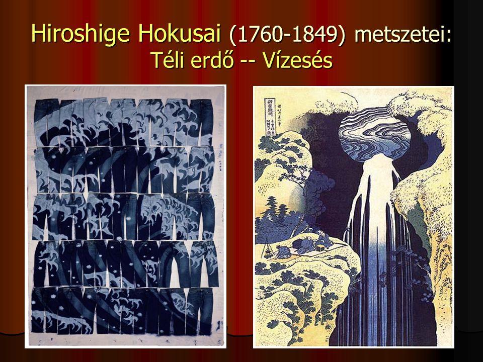 Hiroshige Hokusai (1760-1849) metszetei: Téli erdő -- Vízesés