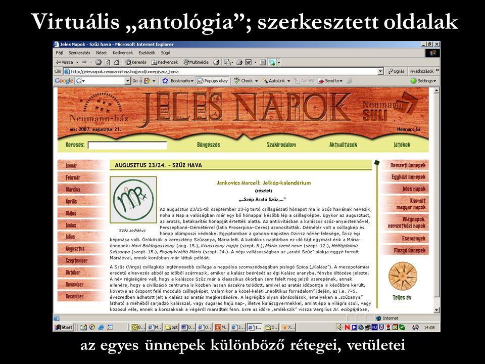 """Virtuális """"antológia ; szerkesztett oldalak az egyes ünnepek különböző rétegei, vetületei"""