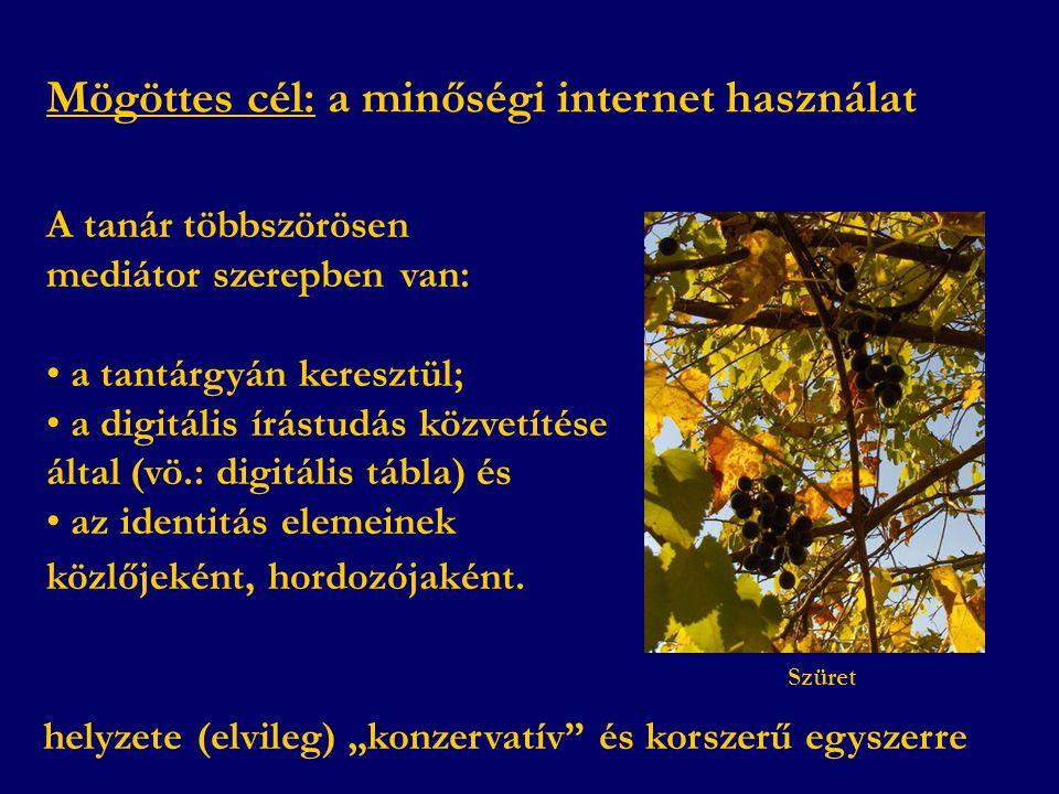 Mögöttes cél: a minőségi internet használat A tanár többszörösen mediátor szerepben van: • a tantárgyán keresztül; • a digitális írástudás közvetítése által (vö.: digitális tábla) és • az identitás elemeinek közlőjeként, hordozójaként.