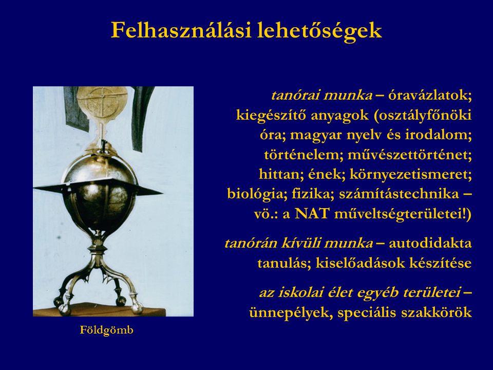tanórai munka – óravázlatok; kiegészítő anyagok (osztályfőnöki óra; magyar nyelv és irodalom; történelem; művészettörténet; hittan; ének; környezetism