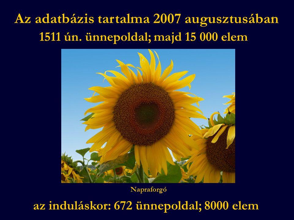 Az adatbázis tartalma 2007 augusztusában 1511 ún. ünnepoldal; majd 15 000 elem az induláskor: 672 ünnepoldal; 8000 elem Napraforgó