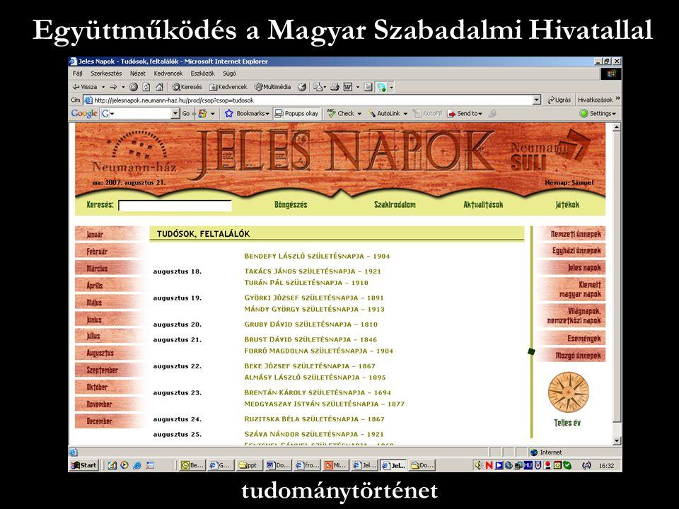 Együttműködés a Magyar Szabadalmi Hivatallal tudománytörténet