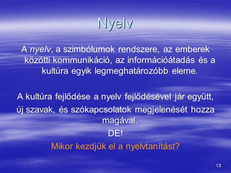 13 Nyelv A nyelv, a szimbólumok rendszere, az emberek közötti kommunikáció, az információátadás és a kultúra egyik legmeghatározóbb eleme. A kultúra f