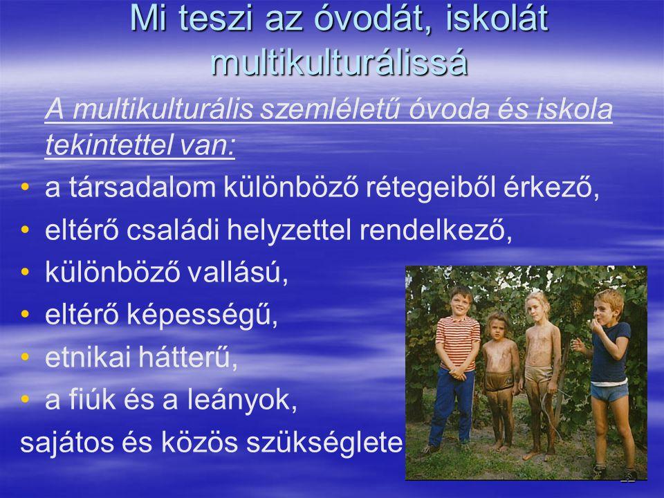 22 Mi teszi az óvodát, iskolát multikulturálissá A multikulturális szemléletű óvoda és iskola tekintettel van: • •a társadalom különböző rétegeiből ér