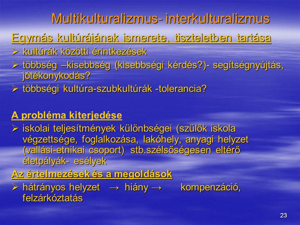 23 Multikulturalizmus- interkulturalizmus Egymás kultúrájának ismerete, tiszteletben tartása  kultúrák közötti érintkezések  többség –kisebbség (kisebbségi kérdés?)- segítségnyújtás, jótékonykodás.