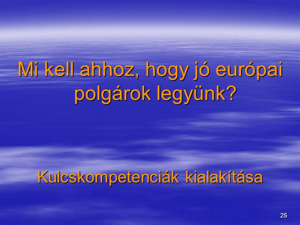 25 Mi kell ahhoz, hogy jó európai polgárok legyünk? Kulcskompetenciák kialakítása