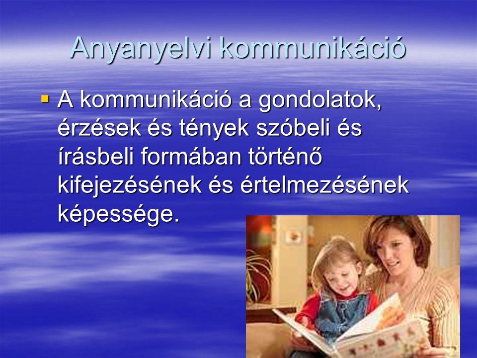 26 Anyanyelvi kommunikáció  A kommunikáció a gondolatok, érzések és tények szóbeli és írásbeli formában történő kifejezésének és értelmezésének képessége.