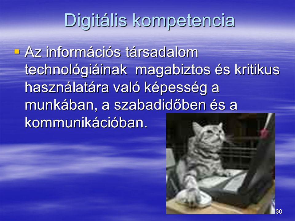 30 Digitális kompetencia Digitális kompetencia  Az információs társadalom technológiáinak magabiztos és kritikus használatára való képesség a munkában, a szabadidőben és a kommunikációban.