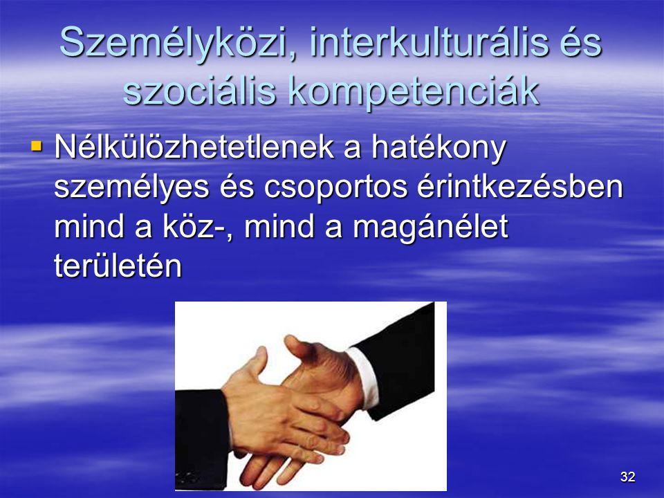32 Személyközi, interkulturális és szociális kompetenciák  Nélkülözhetetlenek a hatékony személyes és csoportos érintkezésben mind a köz-, mind a mag