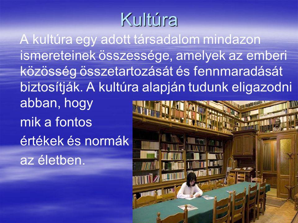 5 Kultúra A kultúra egy adott társadalom mindazon ismereteinek összessége, amelyek az emberi közösség összetartozását és fennmaradását biztosítják. A