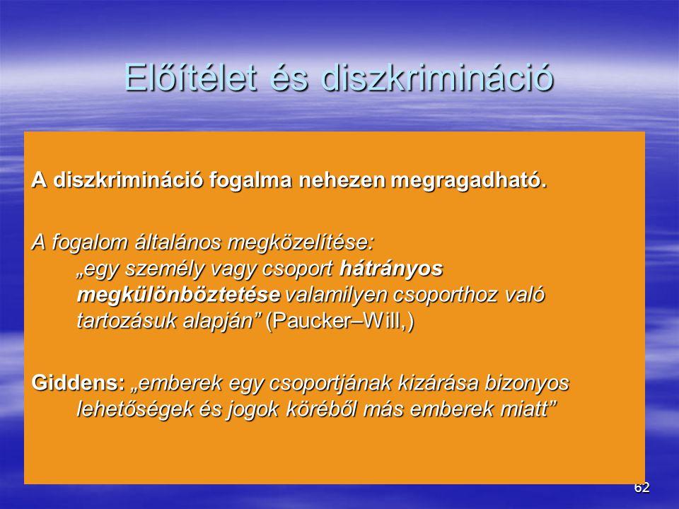 62 Előítélet és diszkrimináció A diszkrimináció fogalma nehezen megragadható.