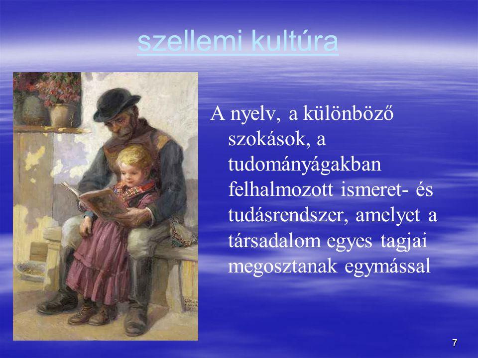 7 szellemi kultúra A nyelv, a különböző szokások, a tudományágakban felhalmozott ismeret- és tudásrendszer, amelyet a társadalom egyes tagjai megosztanak egymással