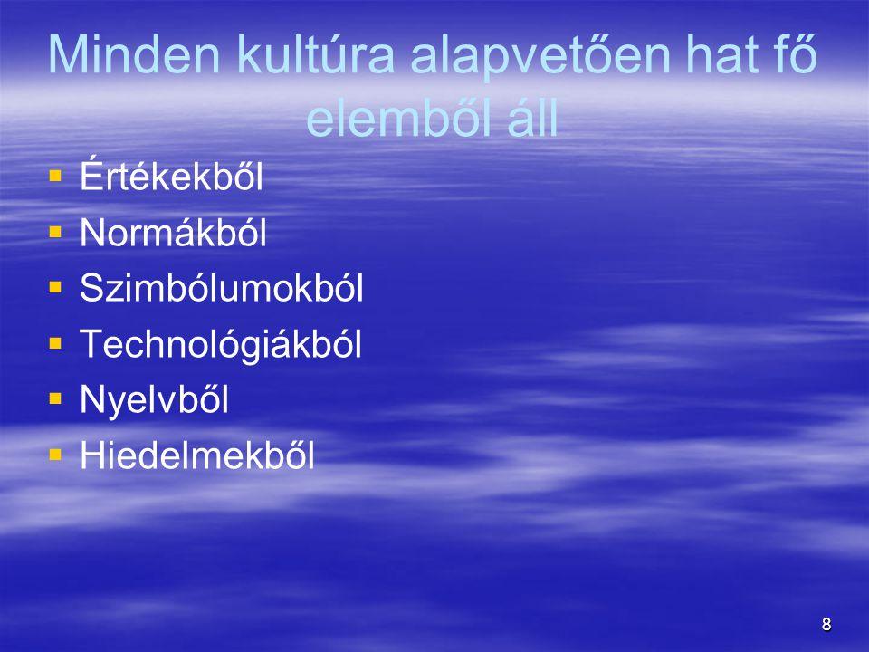 8 Minden kultúra alapvetően hat fő elemből áll   Értékekből   Normákból   Szimbólumokból   Technológiákból   Nyelvből   Hiedelmekből
