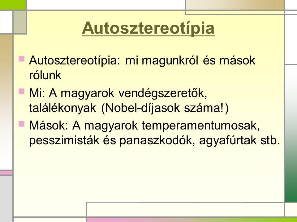 Autosztereotípia  Autosztereotípia: mi magunkról és mások rólunk  Mi: A magyarok vendégszeretők, találékonyak (Nobel-díjasok száma!)  Mások: A magy