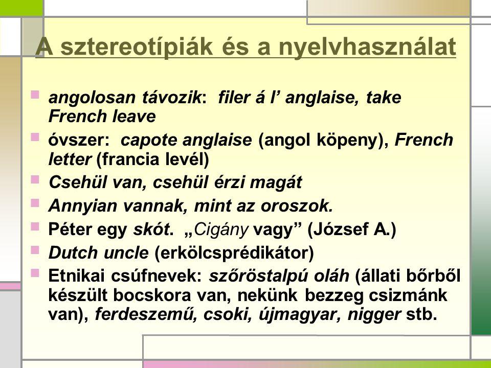 A sztereotípiák és a nyelvhasználat  angolosan távozik: filer á l' anglaise, take French leave  óvszer: capote anglaise (angol köpeny), French lette