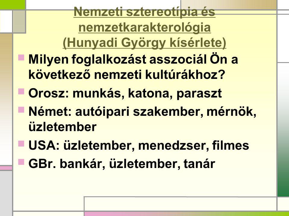 Nemzeti sztereotípia és nemzetkarakterológia (Hunyadi György kísérlete)  Milyen foglalkozást asszociál Ön a következő nemzeti kultúrákhoz?  Orosz: m
