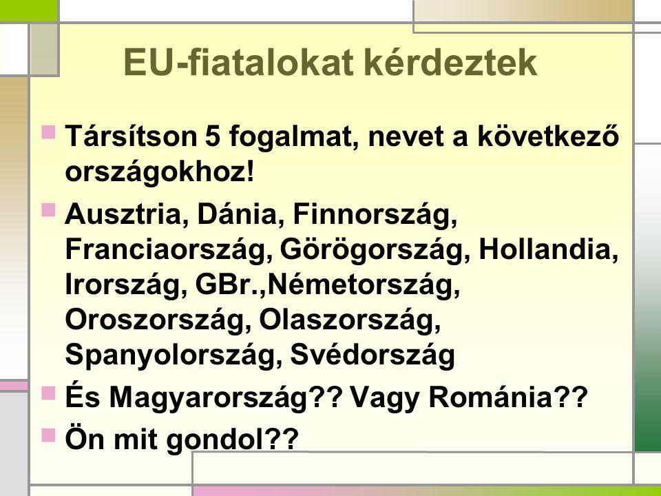 EU-fiatalokat kérdeztek  Társítson 5 fogalmat, nevet a következő országokhoz!  Ausztria, Dánia, Finnország, Franciaország, Görögország, Hollandia, I