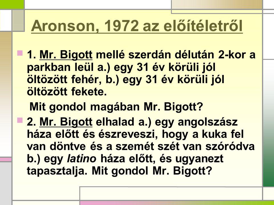 Aronson, 1972 az előítéletről  1. Mr. Bigott mellé szerdán délután 2-kor a parkban leül a.) egy 31 év körüli jól öltözött fehér, b.) egy 31 év körüli