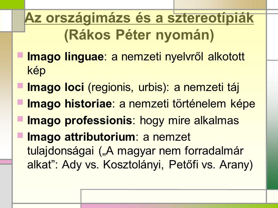 Az országimázs és a sztereotípiák (Rákos Péter nyomán)  Imago linguae: a nemzeti nyelvről alkotott kép  Imago loci (regionis, urbis): a nemzeti táj